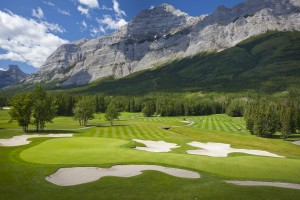 Hole 9 on the Mt. Kidd course at Kananaskis Country Golf Course