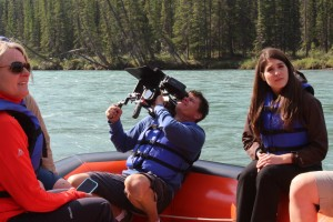 The CNN film crew takes in the scenery around Banff.